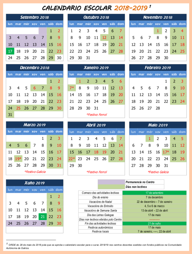 Calendario escolar 2018-19 Ucha
